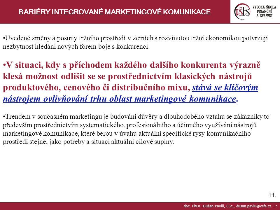 11. doc. PhDr. Dušan Pavlů, CSc., dusan.pavlu@vsfs.cz :: BARIÉRY INTEGROVANÉ MARKETINGOVÉ KOMUNIKACE Uvedené změny a posuny tržního prostředí v zemích