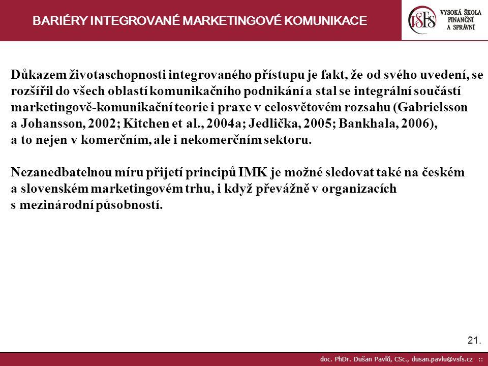 21. doc. PhDr. Dušan Pavlů, CSc., dusan.pavlu@vsfs.cz :: BARIÉRY INTEGROVANÉ MARKETINGOVÉ KOMUNIKACE Důkazem životaschopnosti integrovaného přístupu j
