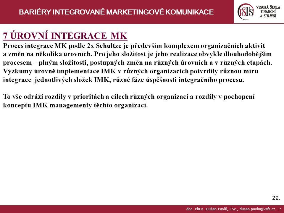 29. doc. PhDr. Dušan Pavlů, CSc., dusan.pavlu@vsfs.cz :: BARIÉRY INTEGROVANÉ MARKETINGOVÉ KOMUNIKACE 7 ÚROVNÍ INTEGRACE MK Proces integrace MK podle 2