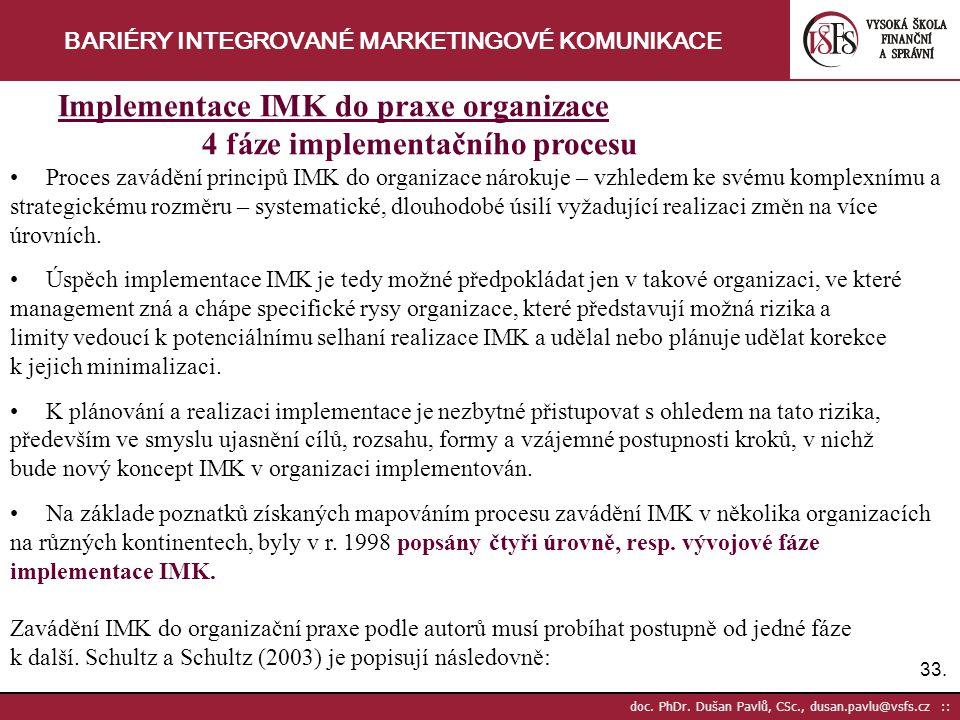 33. doc. PhDr. Dušan Pavlů, CSc., dusan.pavlu@vsfs.cz :: BARIÉRY INTEGROVANÉ MARKETINGOVÉ KOMUNIKACE Implementace IMK do praxe organizace 4 fáze imple