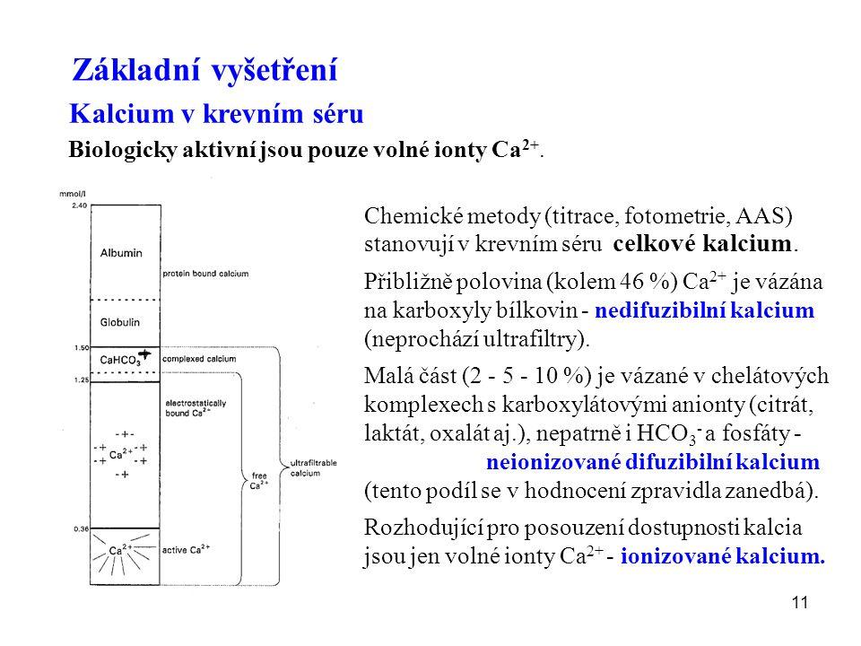 11 Chemické metody (titrace, fotometrie, AAS) stanovují v krevním séru celkové kalcium. Přibližně polovina (kolem 46 %) Ca 2+ je vázána na karboxyly b