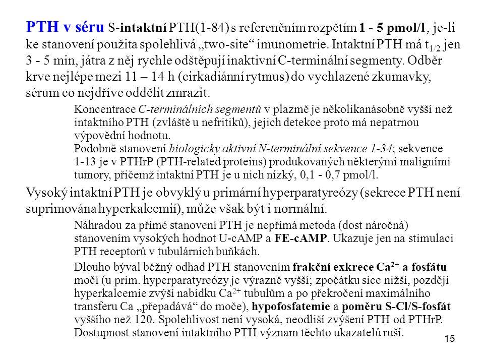 """15 PTH v séru S-intaktní PTH(1-84) s referenčním rozpětím 1 - 5 pmol/l, je-li ke stanovení použita spolehlivá """"two-site"""" imunometrie. Intaktní PTH má"""