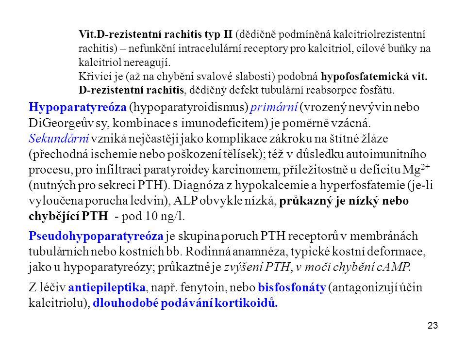 23 Vit.D-rezistentní rachitis typ II (dědičně podmíněná kalcitriolrezistentní rachitis) – nefunkční intracelulární receptory pro kalcitriol, cílové bu