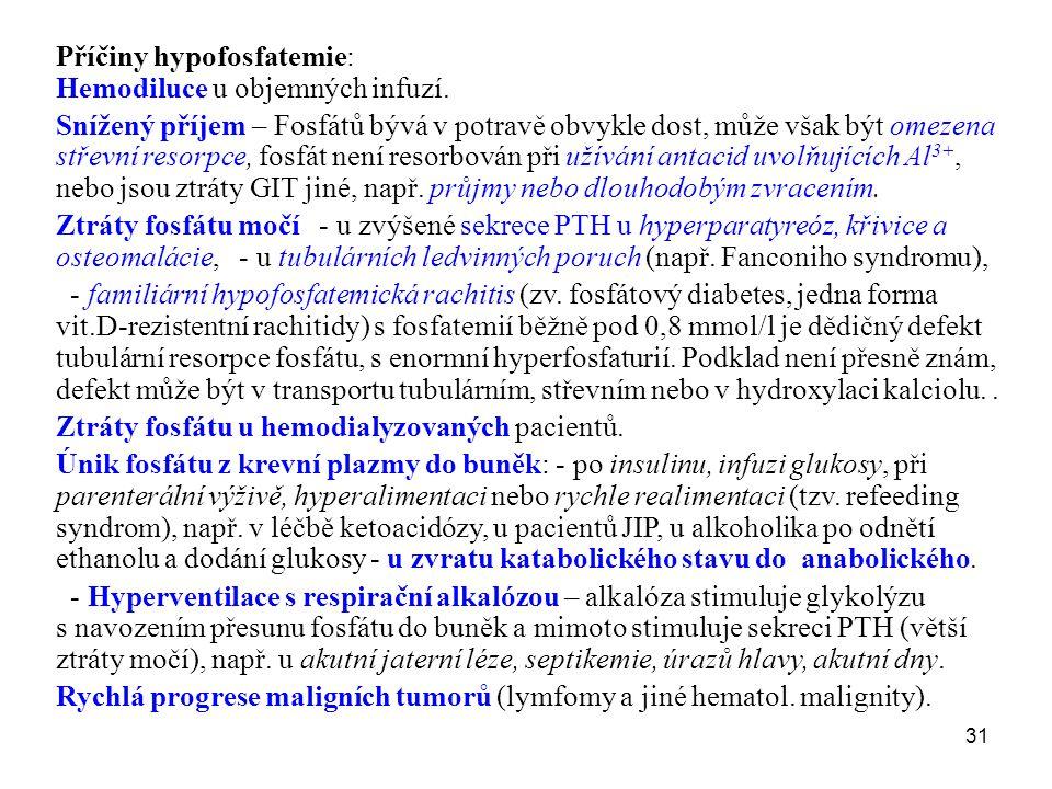 31 Příčiny hypofosfatemie: Hemodiluce u objemných infuzí. Snížený příjem – Fosfátů bývá v potravě obvykle dost, může však být omezena střevní resorpce