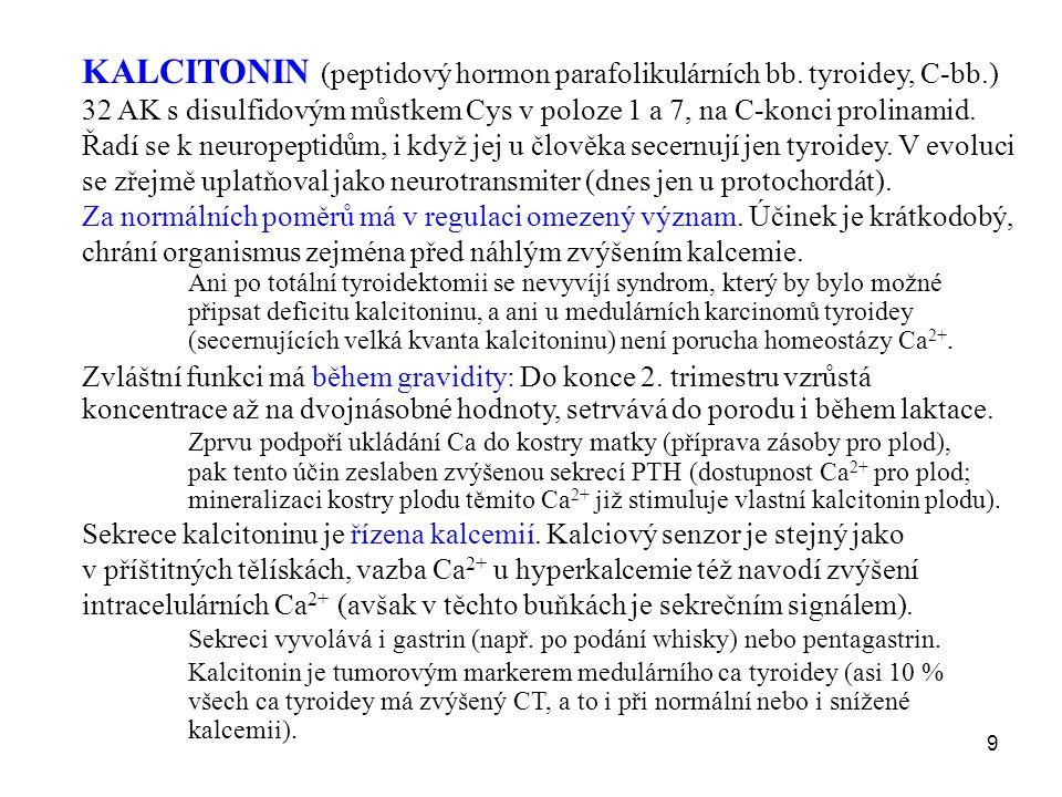 9 KALCITONIN (peptidový hormon parafolikulárních bb. tyroidey, C-bb.) 32 AK s disulfidovým můstkem Cys v poloze 1 a 7, na C-konci prolinamid. Řadí se