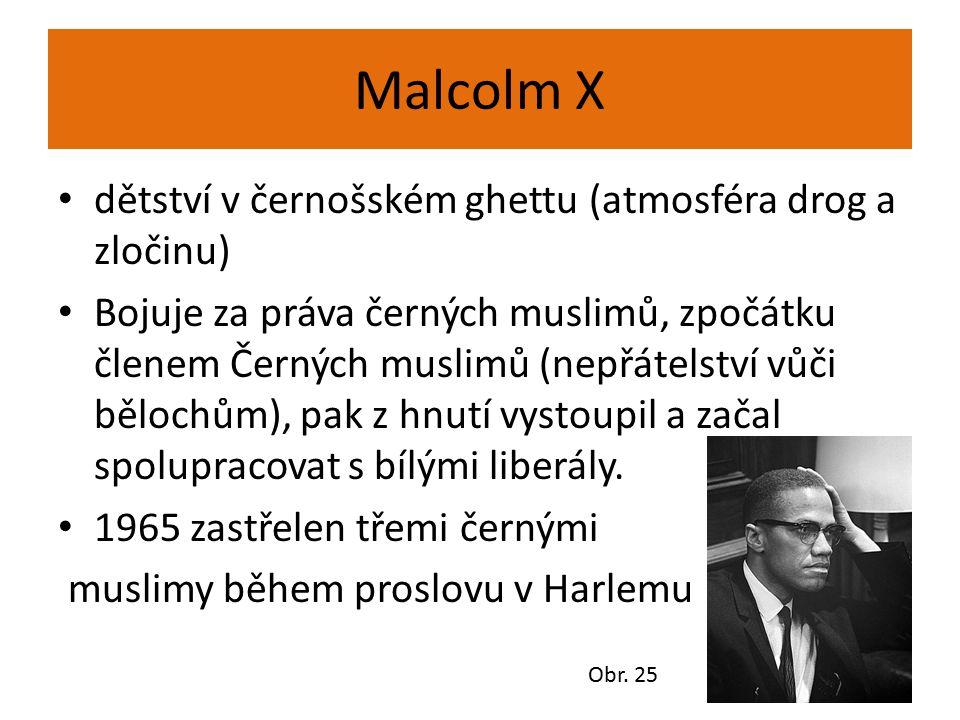 Malcolm X dětství v černošském ghettu (atmosféra drog a zločinu) Bojuje za práva černých muslimů, zpočátku členem Černých muslimů (nepřátelství vůči b