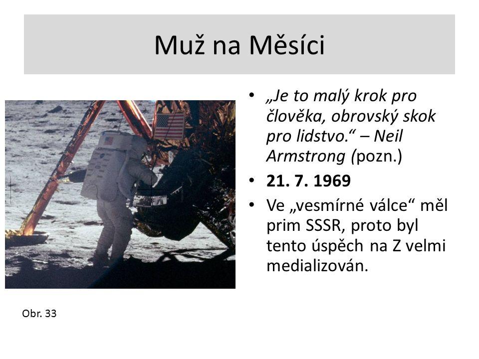 """Muž na Měsíci """"Je to malý krok pro člověka, obrovský skok pro lidstvo."""" – Neil Armstrong (pozn.) 21. 7. 1969 Ve """"vesmírné válce"""" měl prim SSSR, proto"""