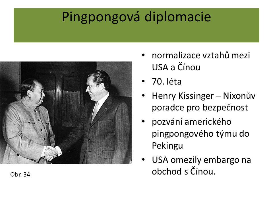 Pingpongová diplomacie normalizace vztahů mezi USA a Čínou 70. léta Henry Kissinger – Nixonův poradce pro bezpečnost pozvání amerického pingpongového