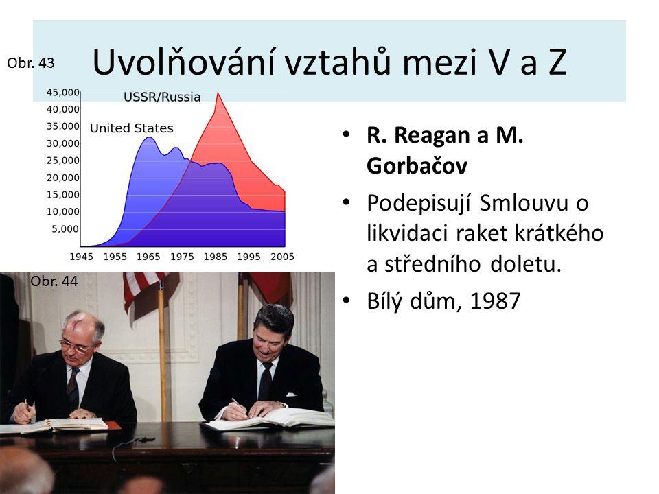 Uvolňování vztahů mezi V a Z R. Reagan a M. Gorbačov Podepisují Smlouvu o likvidaci raket krátkého a středního doletu. Bílý dům, 1987 Obr. 44 Obr. 43