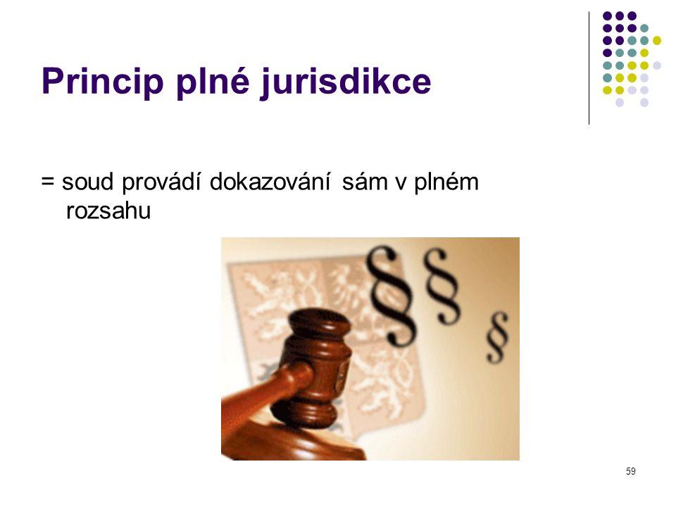 59 Princip plné jurisdikce = soud provádí dokazování sám v plném rozsahu