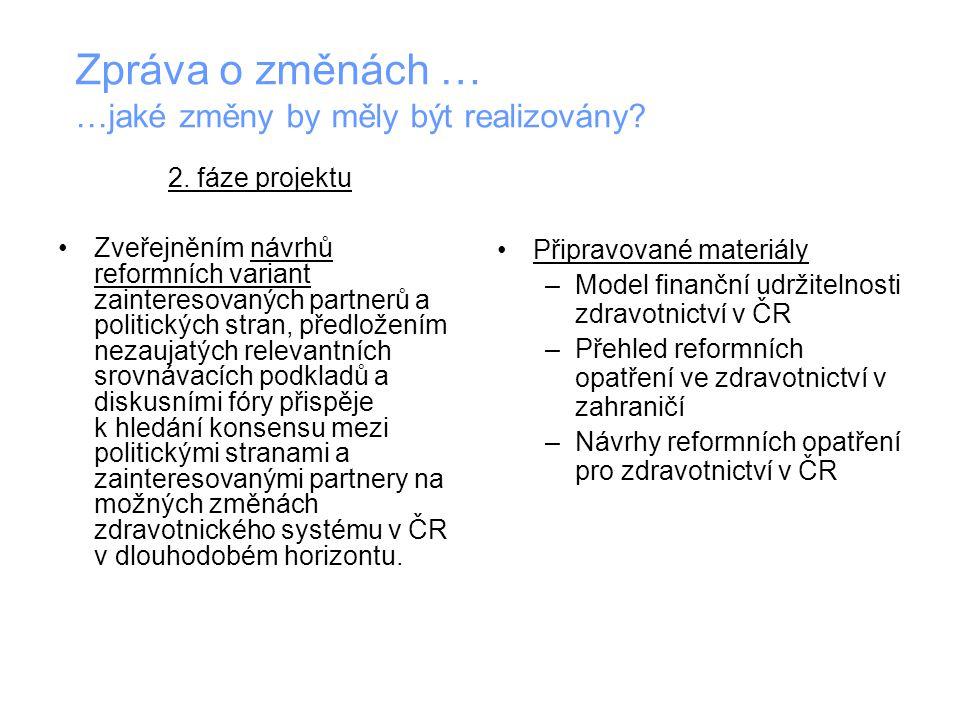 2. fáze projektu Zveřejněním návrhů reformních variant zainteresovaných partnerů a politických stran, předložením nezaujatých relevantních srovnávacíc