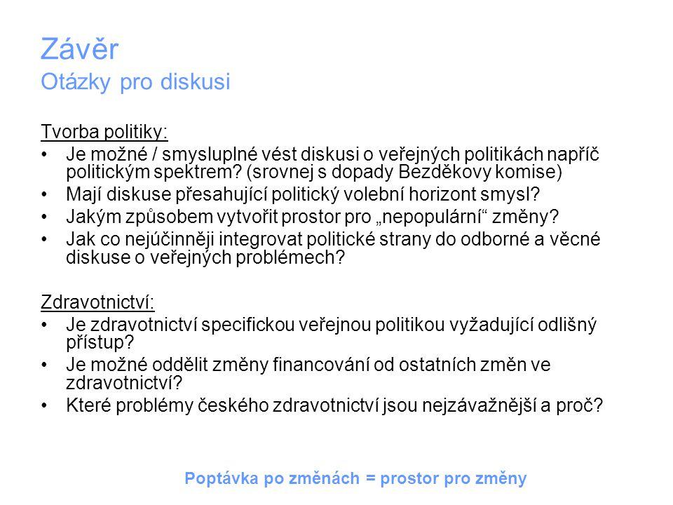 Závěr Otázky pro diskusi Tvorba politiky: Je možné / smysluplné vést diskusi o veřejných politikách napříč politickým spektrem? (srovnej s dopady Bezd