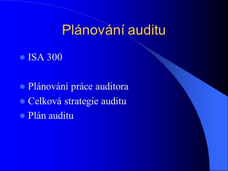 Plánování auditu ISA 300 Plánování práce auditora Celková strategie auditu Plán auditu