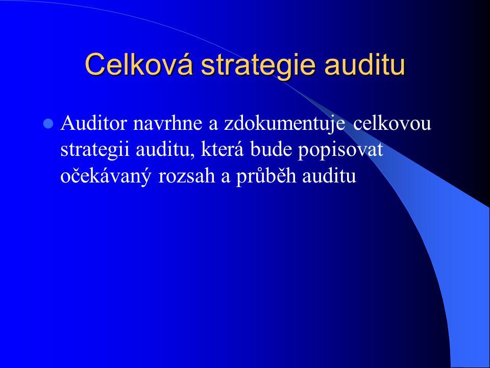 Celková strategie auditu Auditor navrhne a zdokumentuje celkovou strategii auditu, která bude popisovat očekávaný rozsah a průběh auditu