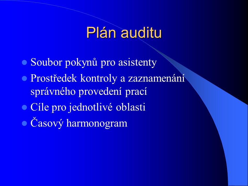 Plán auditu Soubor pokynů pro asistenty Prostředek kontroly a zaznamenání správného provedení prací Cíle pro jednotlivé oblasti Časový harmonogram