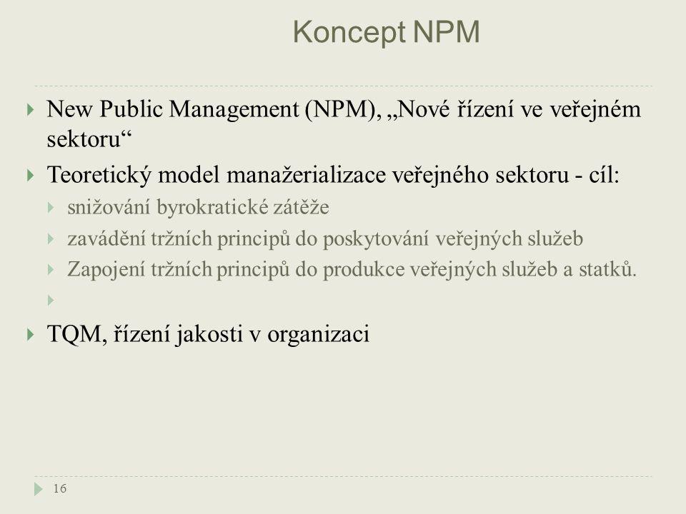 """Koncept NPM 16  New Public Management (NPM), """"Nové řízení ve veřejném sektoru  Teoretický model manažerializace veřejného sektoru - cíl:  snižování byrokratické zátěže  zavádění tržních principů do poskytování veřejných služeb  Zapojení tržních principů do produkce veřejných služeb a statků."""