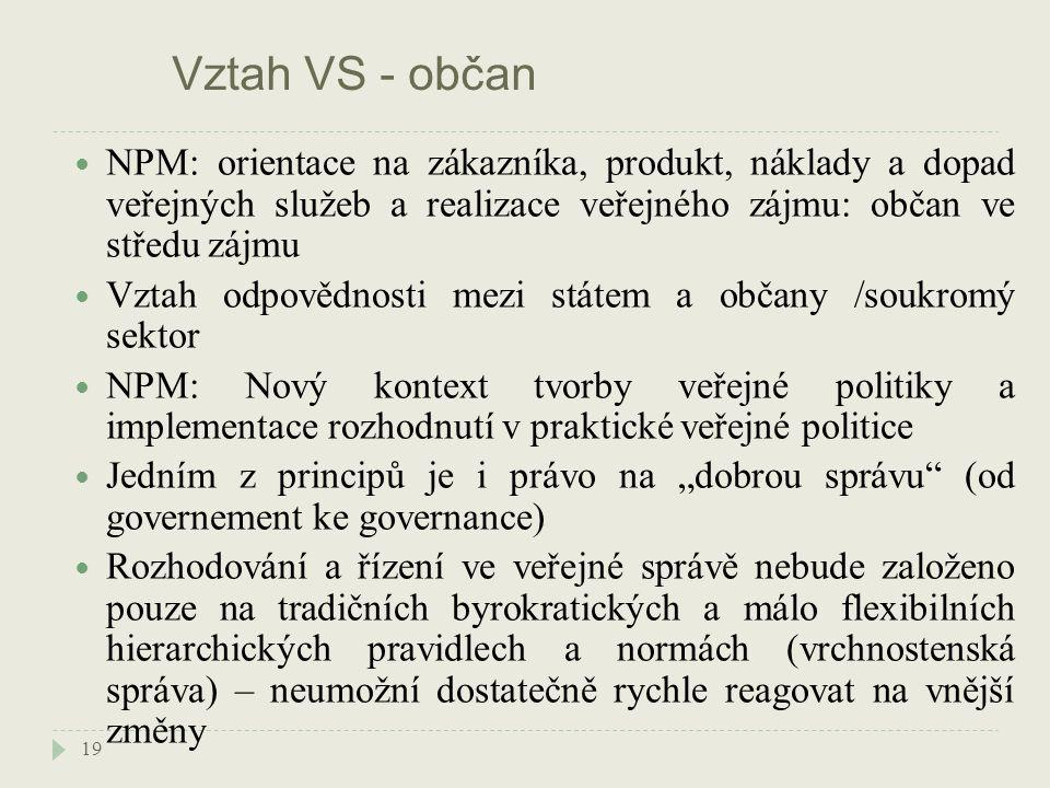 """Vztah VS - občan 19 NPM: orientace na zákazníka, produkt, náklady a dopad veřejných služeb a realizace veřejného zájmu: občan ve středu zájmu Vztah odpovědnosti mezi státem a občany /soukromý sektor NPM: Nový kontext tvorby veřejné politiky a implementace rozhodnutí v praktické veřejné politice Jedním z principů je i právo na """"dobrou správu (od governement ke governance) Rozhodování a řízení ve veřejné správě nebude založeno pouze na tradičních byrokratických a málo flexibilních hierarchických pravidlech a normách (vrchnostenská správa) – neumožní dostatečně rychle reagovat na vnější změny"""