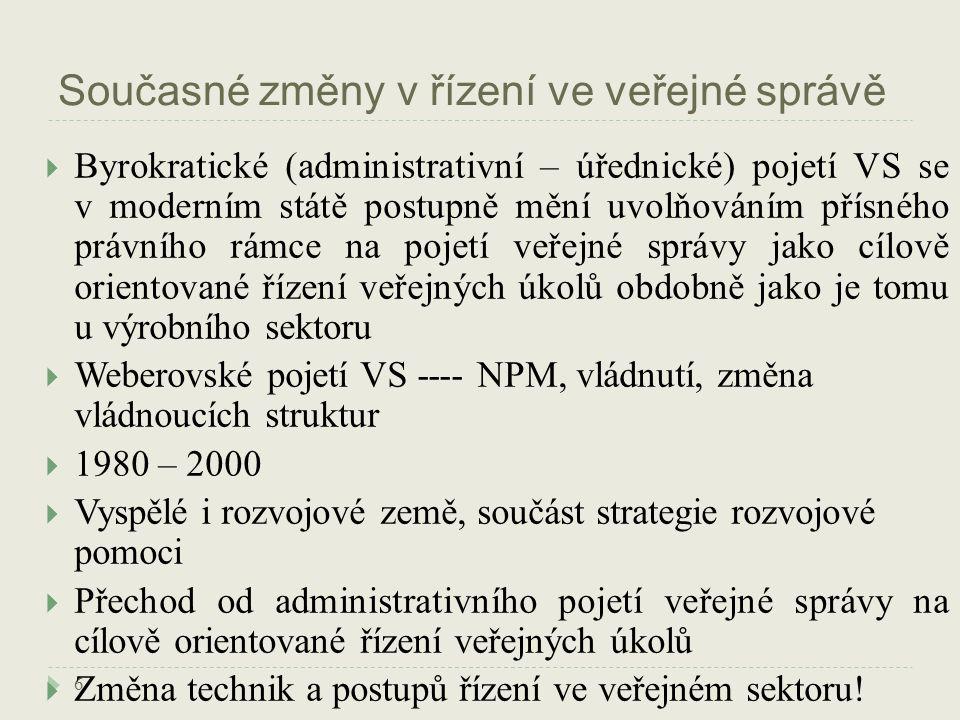 Současné změny v řízení ve veřejné správě 6  Byrokratické (administrativní – úřednické) pojetí VS se v moderním státě postupně mění uvolňováním přísného právního rámce na pojetí veřejné správy jako cílově orientované řízení veřejných úkolů obdobně jako je tomu u výrobního sektoru  Weberovské pojetí VS ---- NPM, vládnutí, změna vládnoucích struktur  1980 – 2000  Vyspělé i rozvojové země, součást strategie rozvojové pomoci  Přechod od administrativního pojetí veřejné správy na cílově orientované řízení veřejných úkolů  Změna technik a postupů řízení ve veřejném sektoru!