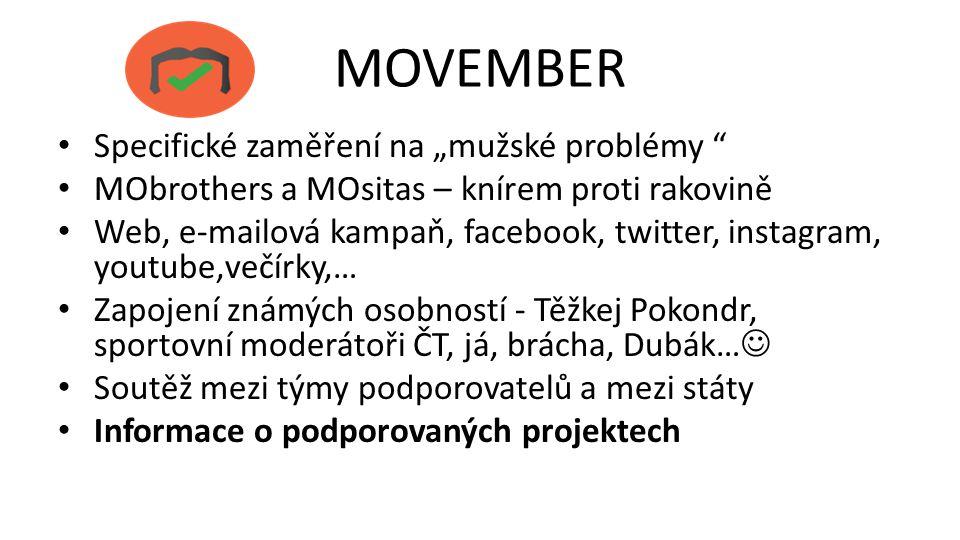 """MOVEMBER Specifické zaměření na """"mužské problémy """" MObrothers a MOsitas – knírem proti rakovině Web, e-mailová kampaň, facebook, twitter, instagram, y"""