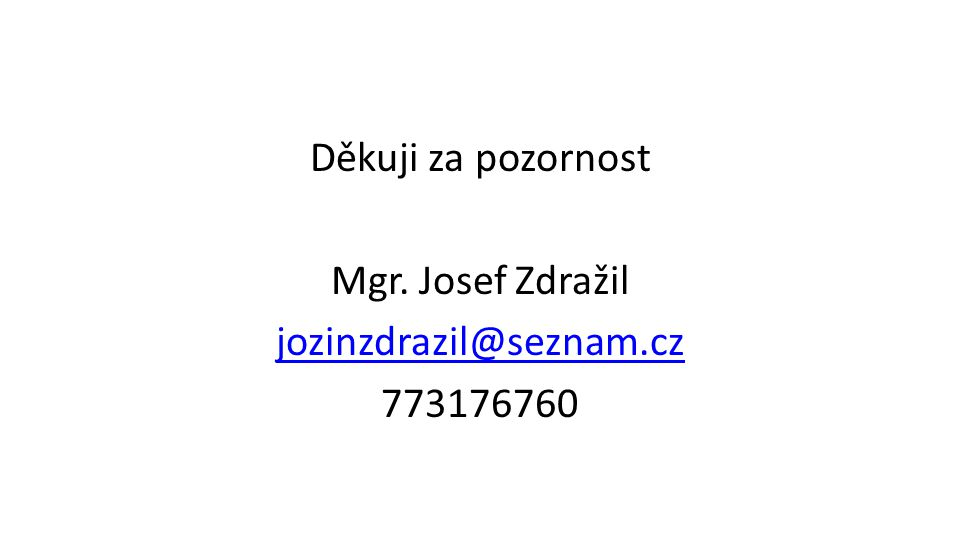 Děkuji za pozornost Mgr. Josef Zdražil jozinzdrazil@seznam.cz 773176760