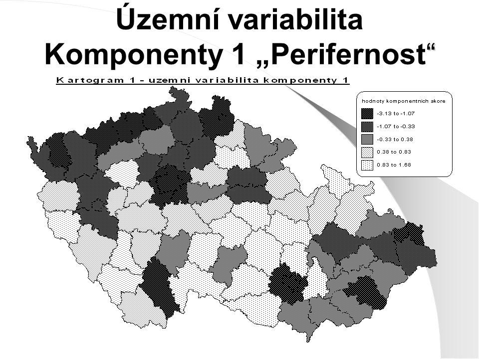 """"""" Územní variabilita Komponenty 1 """"Perifernost"""""""