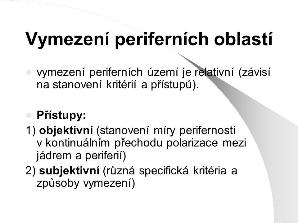 Vymezení periferních oblastí vymezení periferních území je relativní (závisí na stanovení kritérií a přístupů). Přístupy: 1) objektivní (stanovení mír
