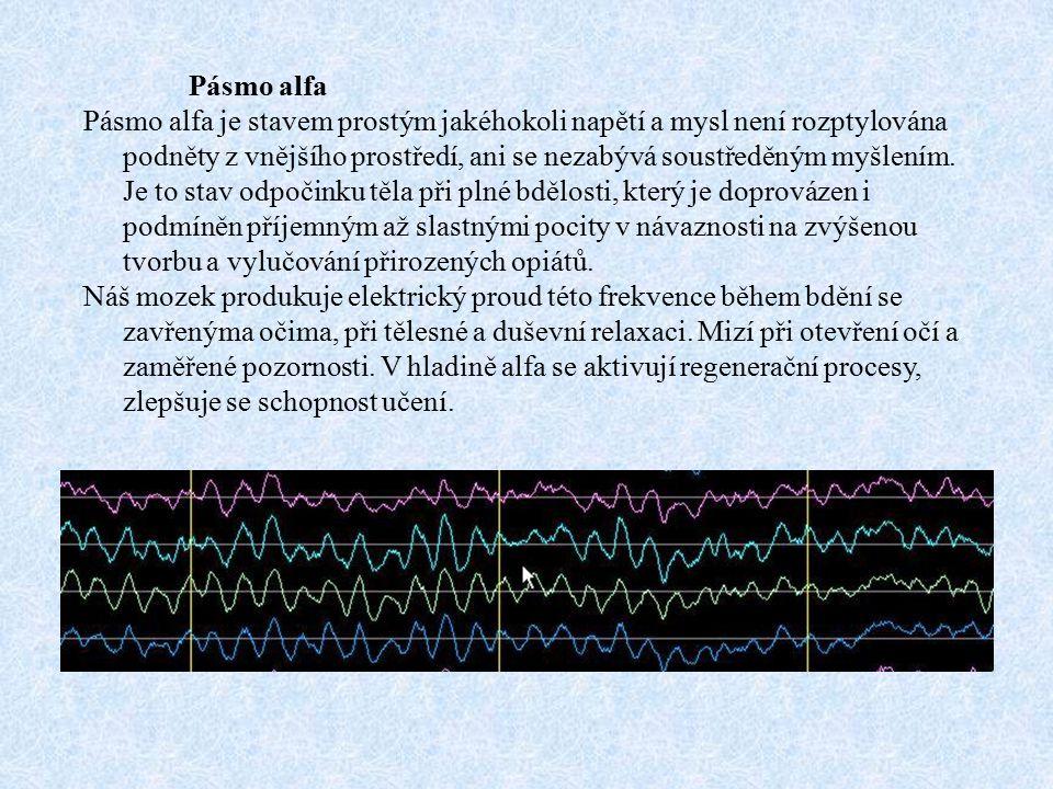 Pásmo alfa Pásmo alfa je stavem prostým jakéhokoli napětí a mysl není rozptylována podněty z vnějšího prostředí, ani se nezabývá soustředěným myšlením.