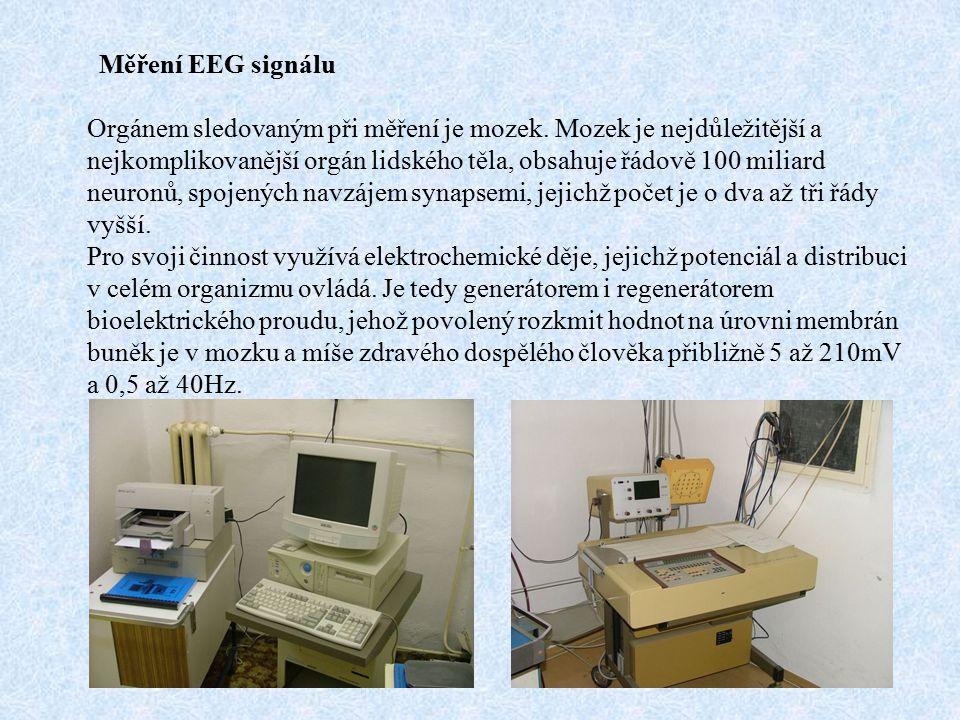 Měření EEG signálu Orgánem sledovaným při měření je mozek.