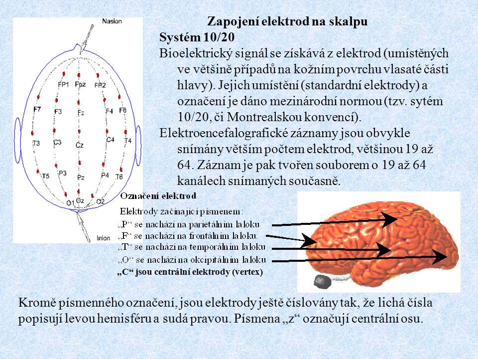 Zapojení elektrod na skalpu Systém 10/20 Bioelektrický signál se získává z elektrod (umístěných ve většině případů na kožním povrchu vlasaté části hla