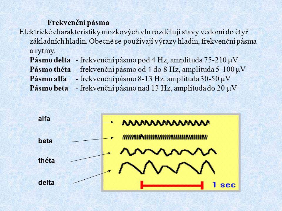 Frekvenční pásma Elektrické charakteristiky mozkových vln rozdělují stavy vědomí do čtyř základních hladin. Obecně se používají výrazy hladin, frekven
