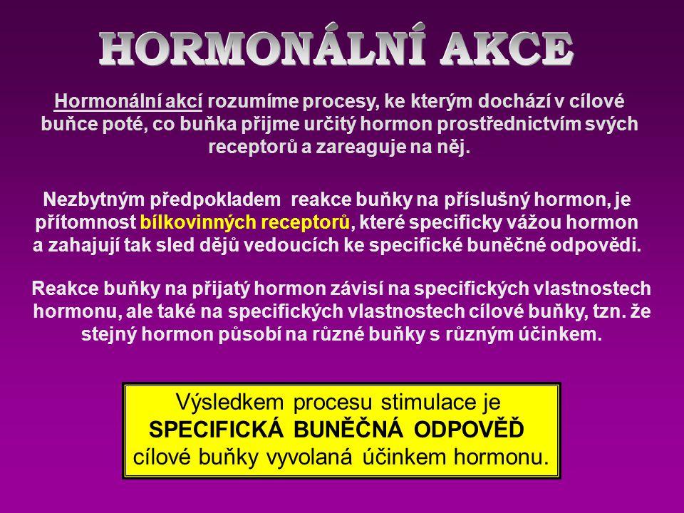 Hormonální akcí rozumíme procesy, ke kterým dochází v cílové buňce poté, co buňka přijme určitý hormon prostřednictvím svých receptorů a zareaguje na něj.