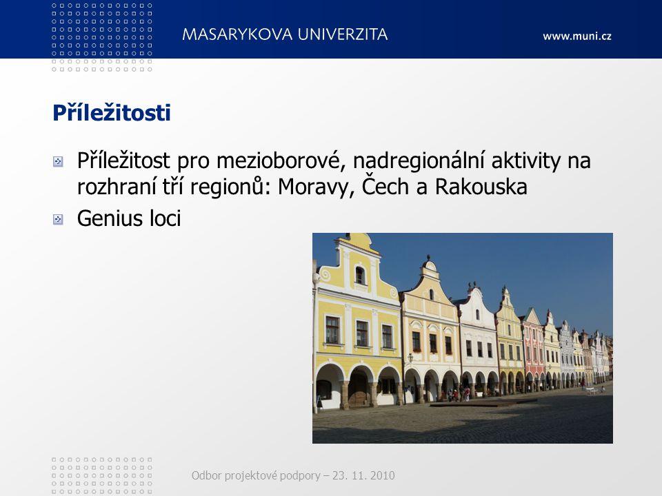 Odbor projektové podpory – 23. 11. 2010 Příležitosti Příležitost pro mezioborové, nadregionální aktivity na rozhraní tří regionů: Moravy, Čech a Rakou
