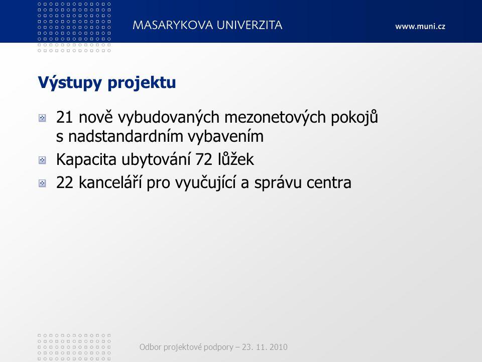 Odbor projektové podpory – 23. 11. 2010 Výstupy projektu 21 nově vybudovaných mezonetových pokojů s nadstandardním vybavením Kapacita ubytování 72 lůž