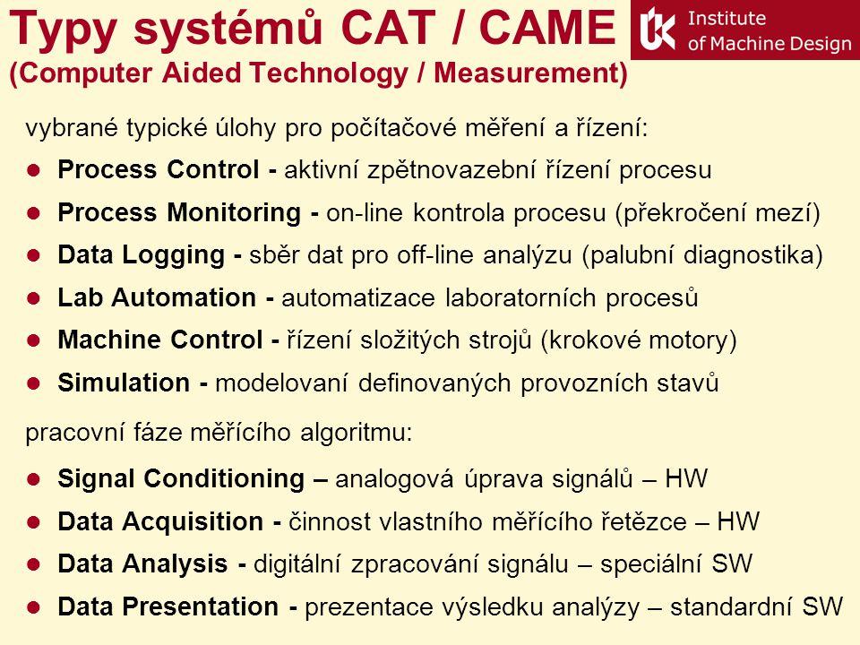 Typy systémů CAT / CAME (Computer Aided Technology / Measurement) vybrané typické úlohy pro počítačové měření a řízení: Process Control - aktivní zpětnovazební řízení procesu Process Monitoring - on-line kontrola procesu (překročení mezí) Data Logging - sběr dat pro off-line analýzu (palubní diagnostika) Lab Automation - automatizace laboratorních procesů Machine Control - řízení složitých strojů (krokové motory) Simulation - modelovaní definovaných provozních stavů pracovní fáze měřícího algoritmu: Signal Conditioning – analogová úprava signálů – HW Data Acquisition - činnost vlastního měřícího řetězce – HW Data Analysis - digitální zpracování signálu – speciální SW Data Presentation - prezentace výsledku analýzy – standardní SW