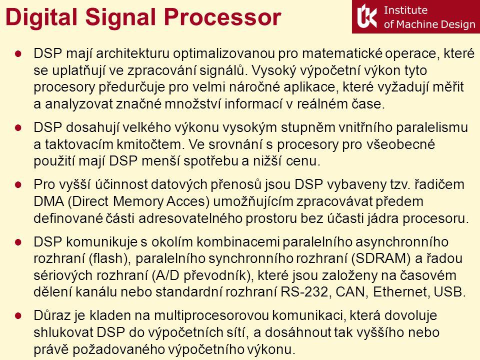 Digital Signal Processor DSP mají architekturu optimalizovanou pro matematické operace, které se uplatňují ve zpracování signálů.