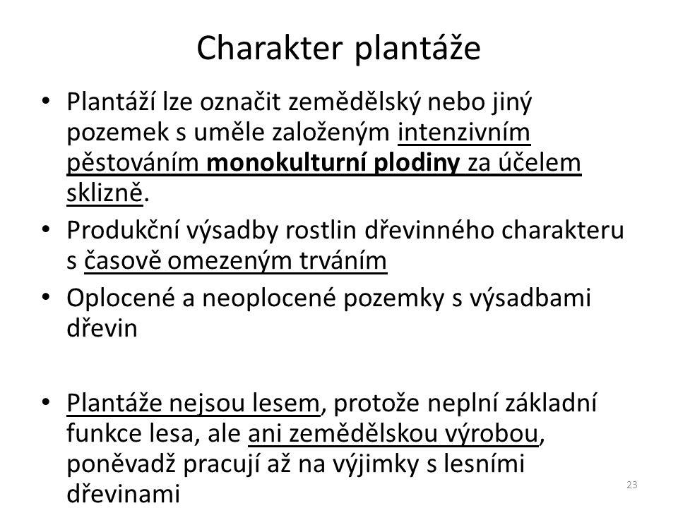 23 Charakter plantáže Plantáží lze označit zemědělský nebo jiný pozemek s uměle založeným intenzivním pěstováním monokulturní plodiny za účelem sklizně.