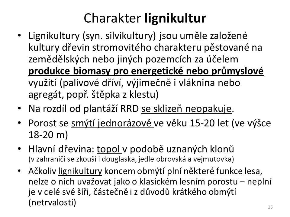 26 Charakter lignikultur Lignikultury (syn.