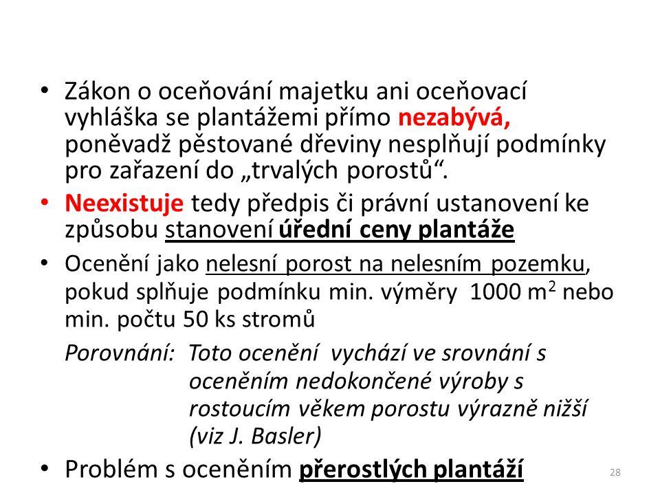 """28 Zákon o oceňování majetku ani oceňovací vyhláška se plantážemi přímo nezabývá, poněvadž pěstované dřeviny nesplňují podmínky pro zařazení do """"trvalých porostů ."""