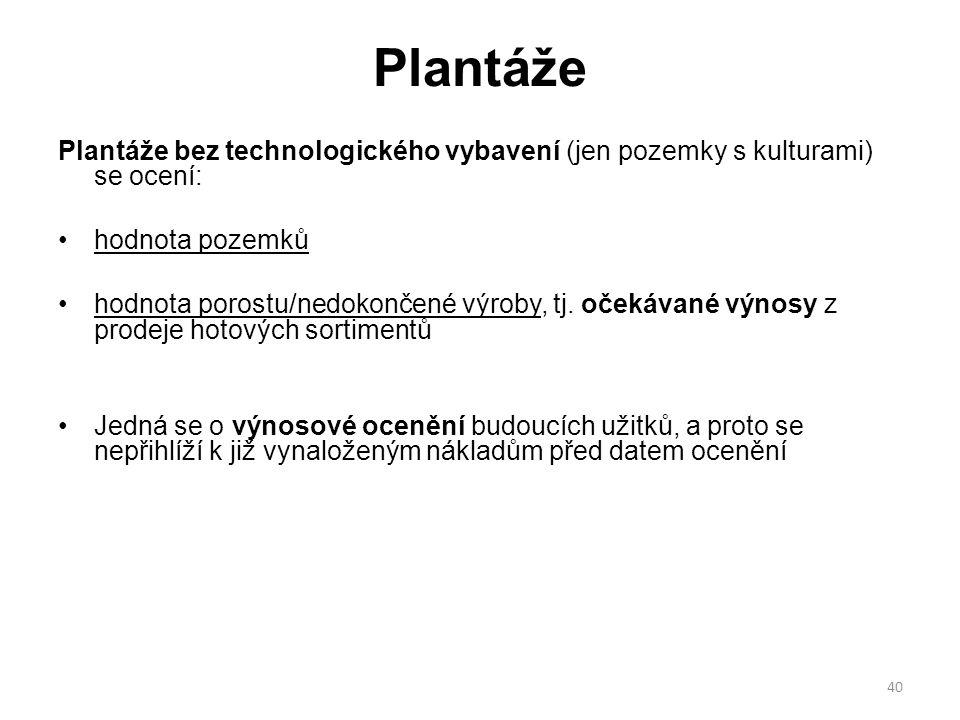 40 Plantáže Plantáže bez technologického vybavení (jen pozemky s kulturami) se ocení: hodnota pozemků hodnota porostu/nedokončené výroby, tj.