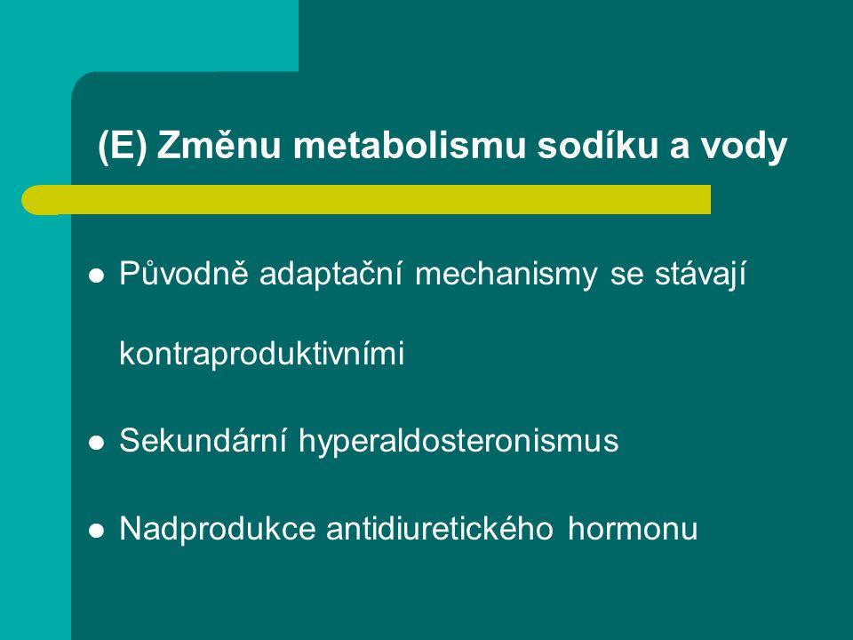 (E) Změnu metabolismu sodíku a vody Původně adaptační mechanismy se stávají kontraproduktivními Sekundární hyperaldosteronismus Nadprodukce antidiuret