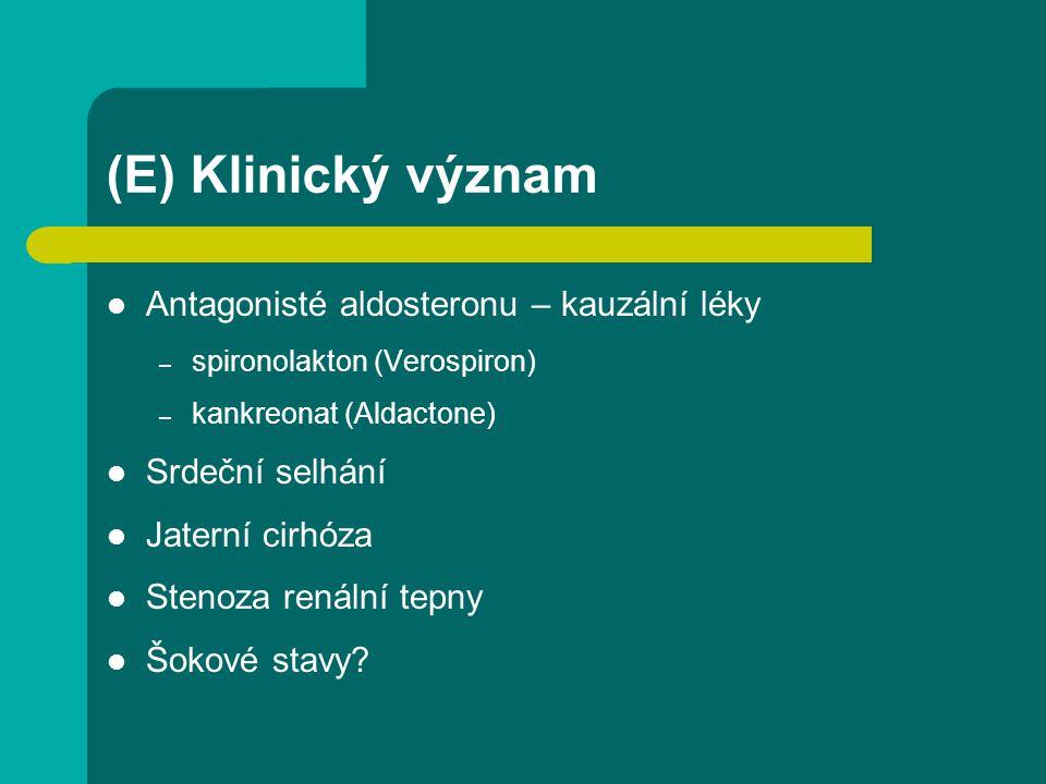 (E) Klinický význam Antagonisté aldosteronu – kauzální léky – spironolakton (Verospiron) – kankreonat (Aldactone) Srdeční selhání Jaterní cirhóza Sten