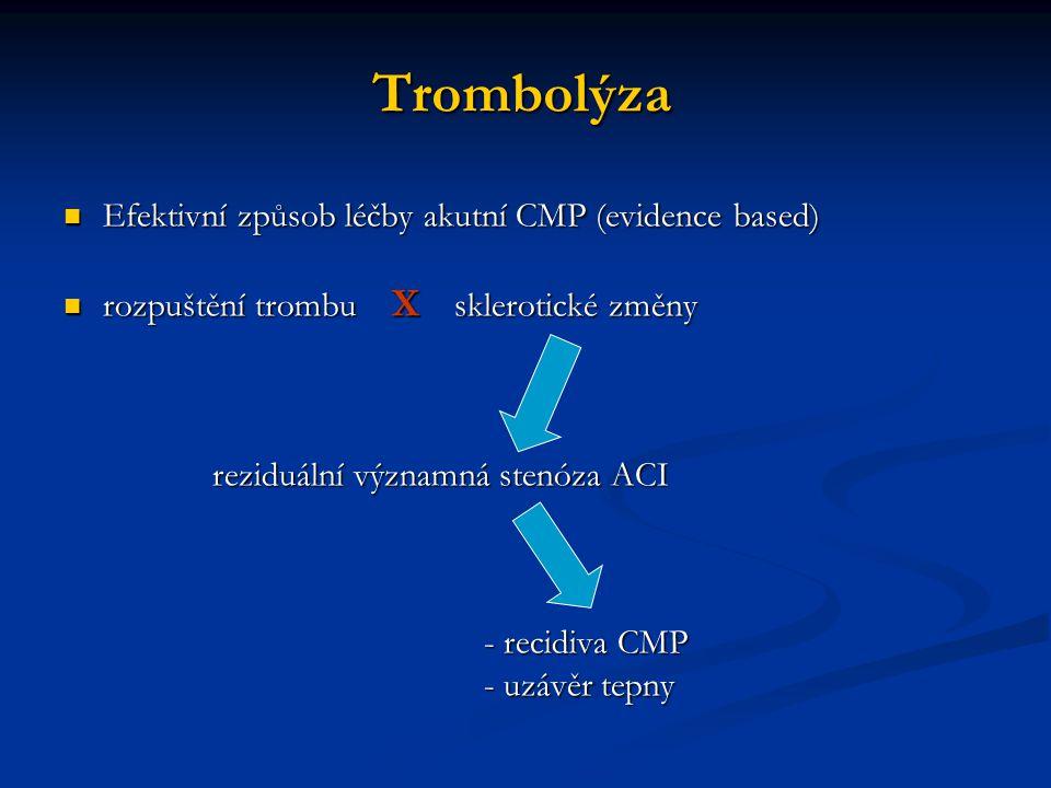 Trombolýza Efektivní způsob léčby akutní CMP (evidence based) Efektivní způsob léčby akutní CMP (evidence based) rozpuštění trombu X sklerotické změny