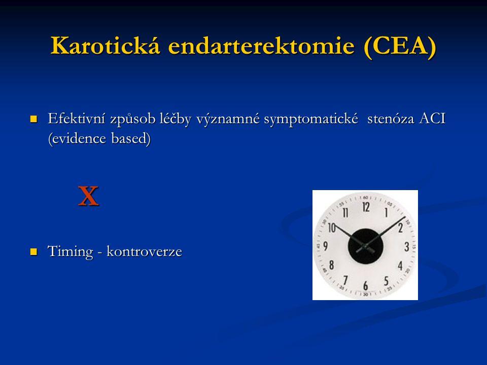 Karotická endarterektomie (CEA) Efektivní způsob léčby významné symptomatické stenóza ACI (evidence based) Efektivní způsob léčby významné symptomatic