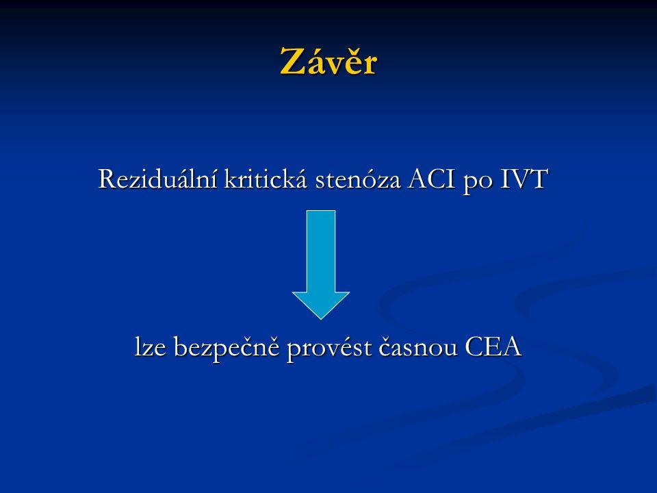 Závěr Reziduální kritická stenóza ACI po IVT Reziduální kritická stenóza ACI po IVT lze bezpečně provést časnou CEA lze bezpečně provést časnou CEA