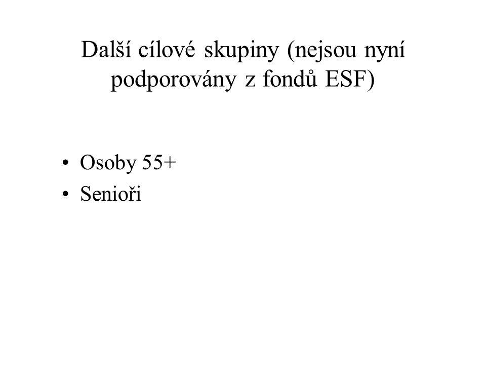 Další cílové skupiny (nejsou nyní podporovány z fondů ESF) Osoby 55+ Senioři