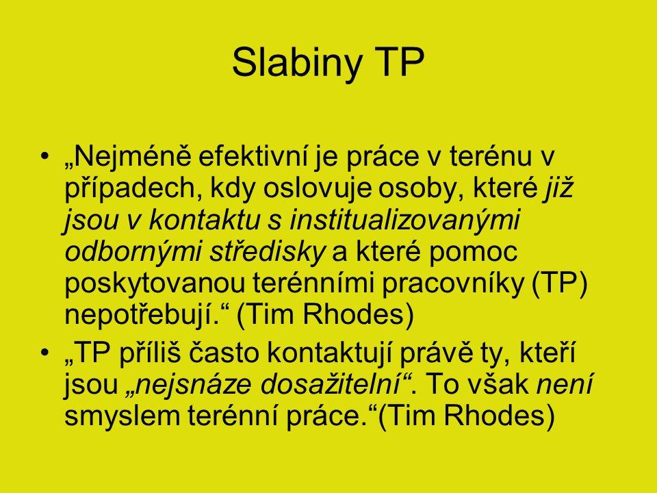 """Slabiny TP """"Nejméně efektivní je práce v terénu v případech, kdy oslovuje osoby, které již jsou v kontaktu s institualizovanými odbornými středisky a které pomoc poskytovanou terénními pracovníky (TP) nepotřebují. (Tim Rhodes) """"TP příliš často kontaktují právě ty, kteří jsou """"nejsnáze dosažitelní ."""