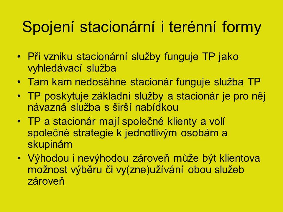 Spojení stacionární i terénní formy Při vzniku stacionární služby funguje TP jako vyhledávací služba Tam kam nedosáhne stacionár funguje služba TP TP