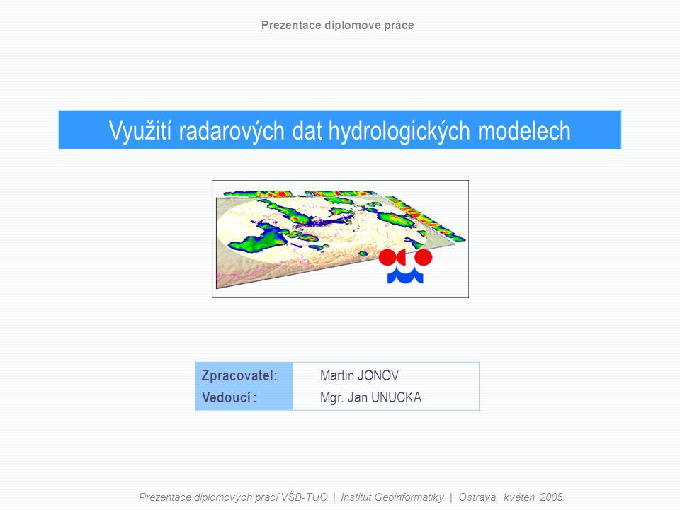 Využití radarových dat hydrologických modelech Prezentace diplomové práce Zpracovatel: Vedoucí : Martin JONOV Mgr.
