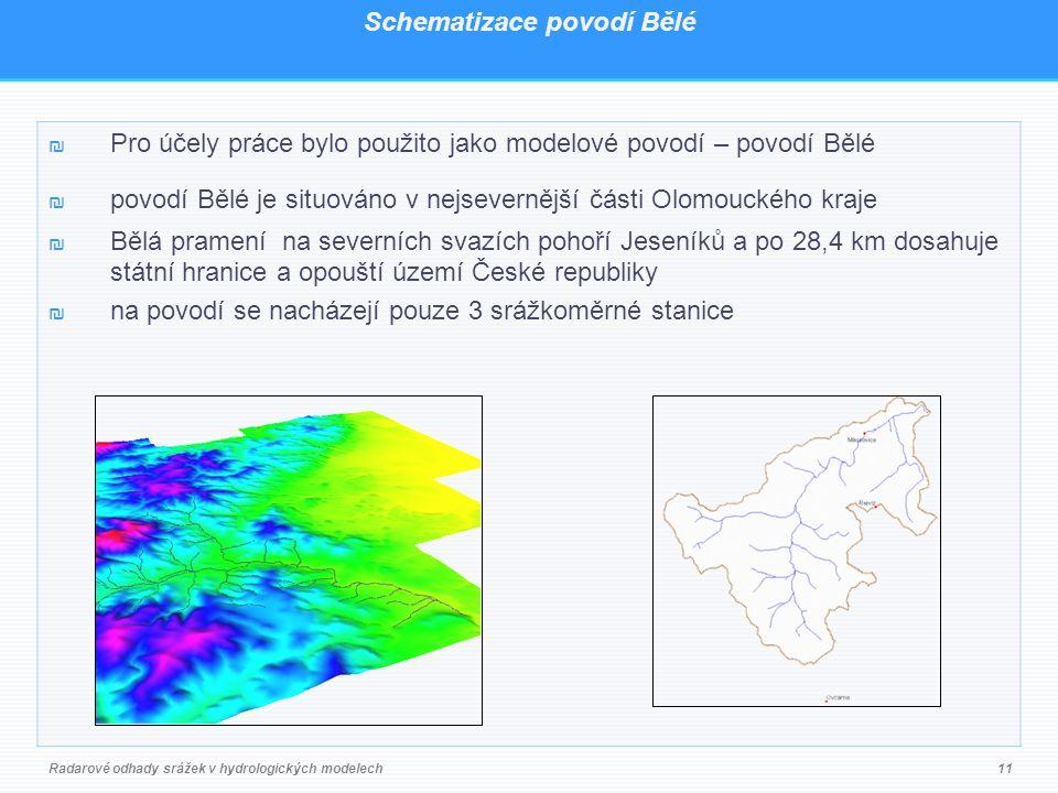 Schematizace povodí Bělé ₪ Pro účely práce bylo použito jako modelové povodí – povodí Bělé ₪ povodí Bělé je situováno v nejsevernější části Olomouckého kraje ₪ Bělá pramení na severních svazích pohoří Jeseníků a po 28,4 km dosahuje státní hranice a opouští území České republiky ₪ na povodí se nacházejí pouze 3 srážkoměrné stanice Radarové odhady srážek v hydrologických modelech11