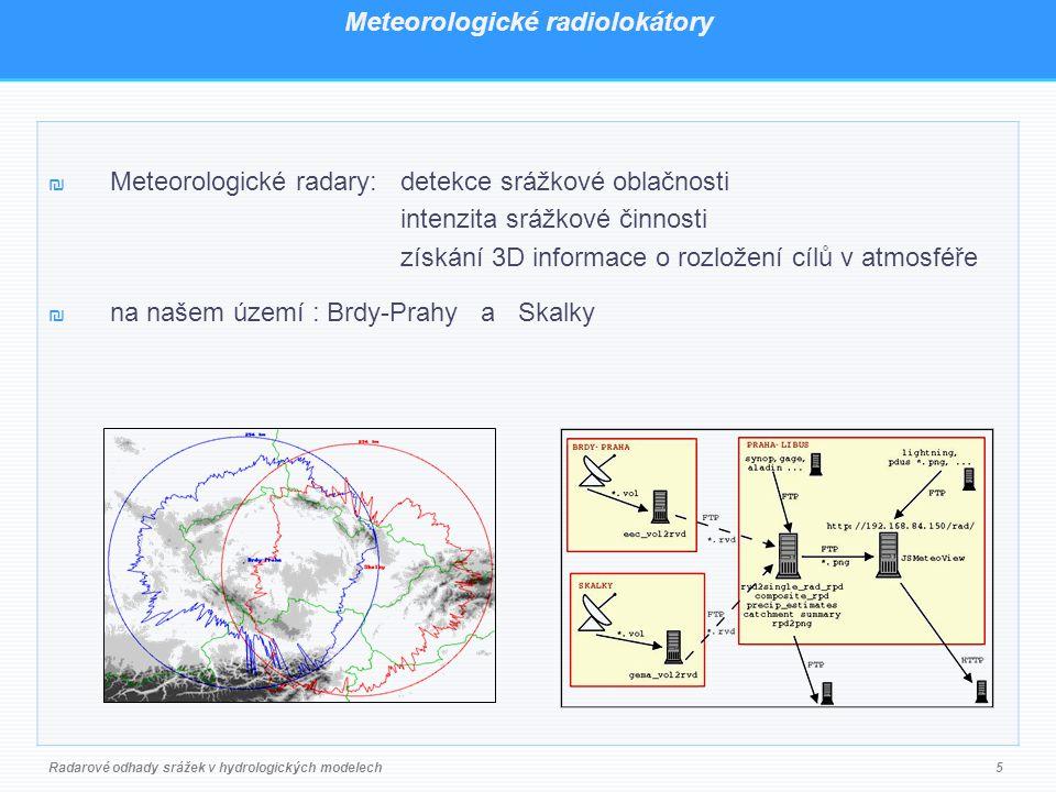 Meteorologické radiolokátory ₪ Meteorologické radary: detekce srážkové oblačnosti intenzita srážkové činnosti získání 3D informace o rozložení cílů v atmosféře ₪ na našem území : Brdy-Prahy a Skalky Radarové odhady srážek v hydrologických modelech5